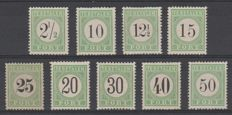 Curaçao 1889 - postage due, number in black - NVPH P1 and P3 through P10 in type II