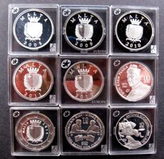Malta - 10 Euro 2008 up to and including 2016 complete serie (9 various coins) - silver