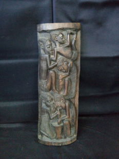 Antique Tribal Handcrafted WoodCarving on Dark Wood Sculpture - Portuguese Colonial