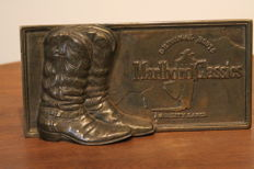 Beautiful unique bronze marlboro cowboy boots plaque