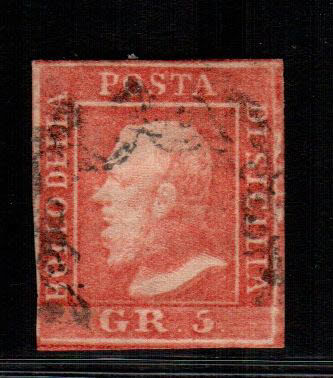 Sicily, 1859 – 5 Grana, light vermilion, table I – Sass. no. 10.