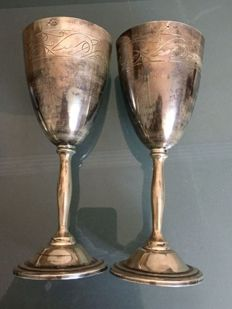 Two silver goblets, Russia, 20th century