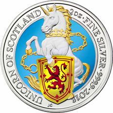 Great Britain - 5 pounds 2018 'The Queens Beasts / Unicorn of Scotland' with colour - 2 oz silver