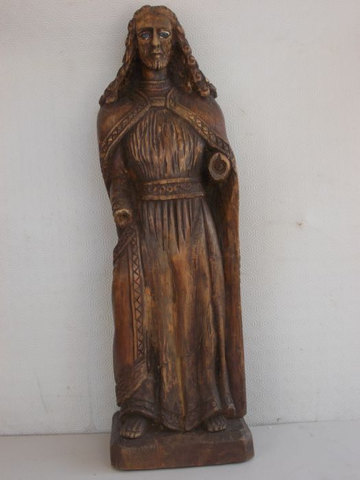 Antique beechwood sculpture of Christ with glass eyes, carved out of a single piece - Italy - 18th/19th century