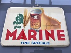 Marine, 1958, tin advertising sign. (Beer brewery La Marine, Brussels) tin advertising sign