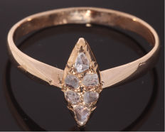 14 kt Gold ring set with 0.20 ct diamond, antique cut - Ring size: 18.5