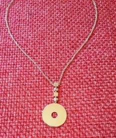 Bvlgari Yellow Gold 18k Flat Circle Disc Drop Pendant Necklace - Length (Approx) 42cm --- 16.5inch, Pendant Size (Approx) H47.0 mm x W 24.7mm