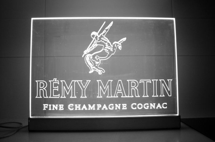 REMY MARTIN neon light sign+hip flask, 56x43cm, 1999
