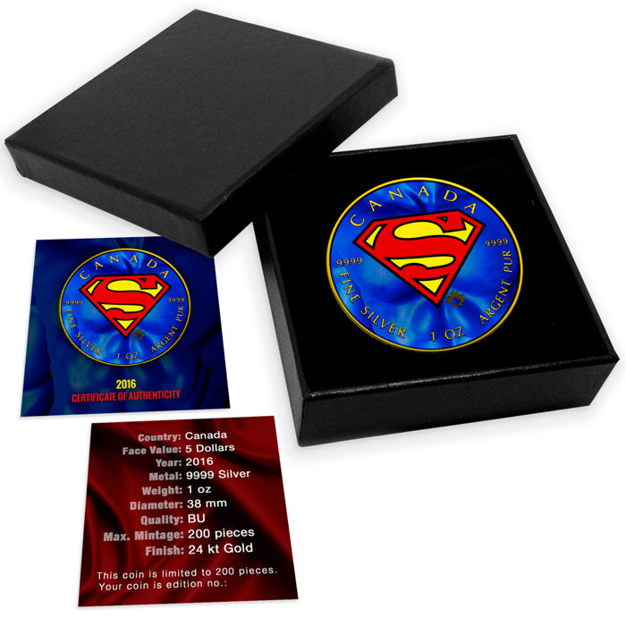 Canada - 5 Dollars, 2016, 'Superman Shield', Gold Finish and Coloured - 1 oz Silver - Edition of 200 PCs