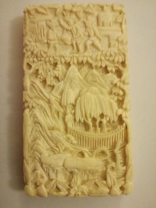 Finely carved business card holder - Napoleon's tomb - Canton, China - 19th century