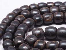 99 Antique black coral prayer beads strand