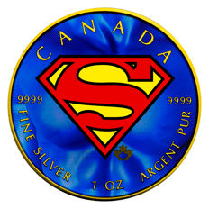 Canada - 5 Dollars 2016 'Superman - shield' gilded + colour - 1 oz silver