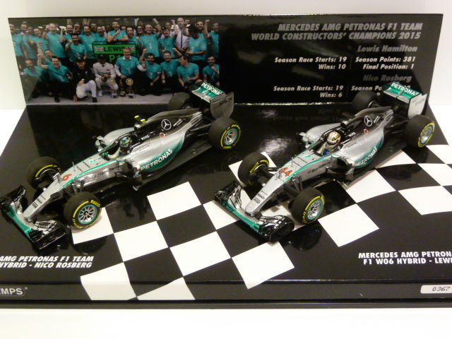 Minichamps - Scale 1/43 - Set 2x Mercedes AMG Petronas F1 Team W06 - Constructors World Champion 2015