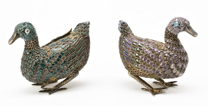 Pair enameled ducks marked silver - China - Mid 20th century