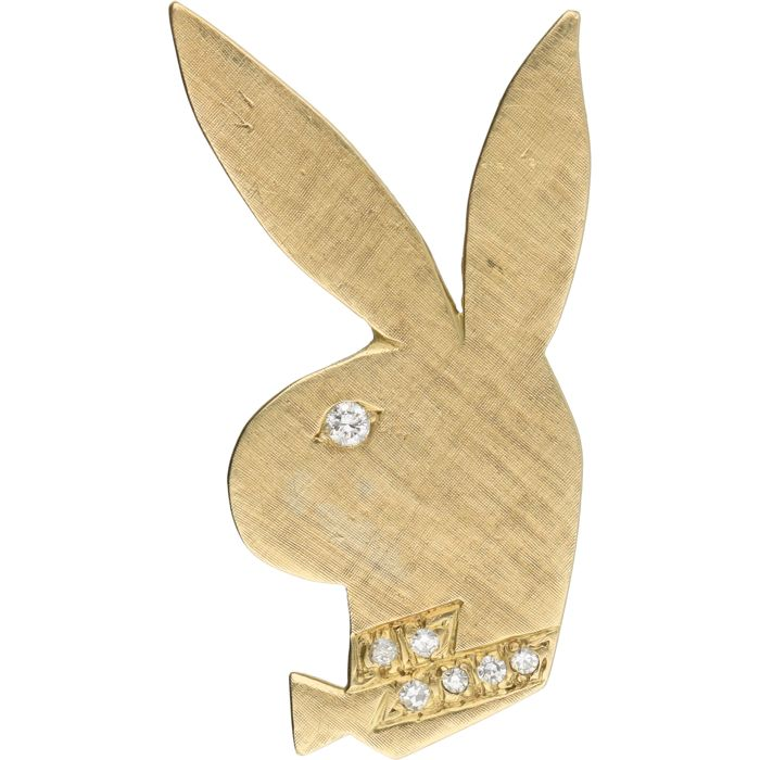 14 kt yellow gold pendant in the shape of a playboy bunny set with 14 kt yellow gold pendant in the shape of a playboy bunny set with 2 aloadofball Image collections