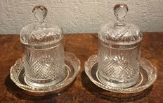 2 sharp diamond-fan cut crystal  jam/confiture jars or biscuit pot