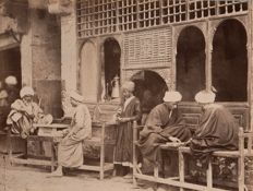 Attrib. Abdullah Frères (active from 1858 to 1899) - Life scene around a street café, Turkey.