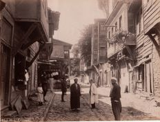 Abdullah Frères (active from 1858 to 1899) - Passers-by in a busy street of Stamboul (Istanbul), Turkey