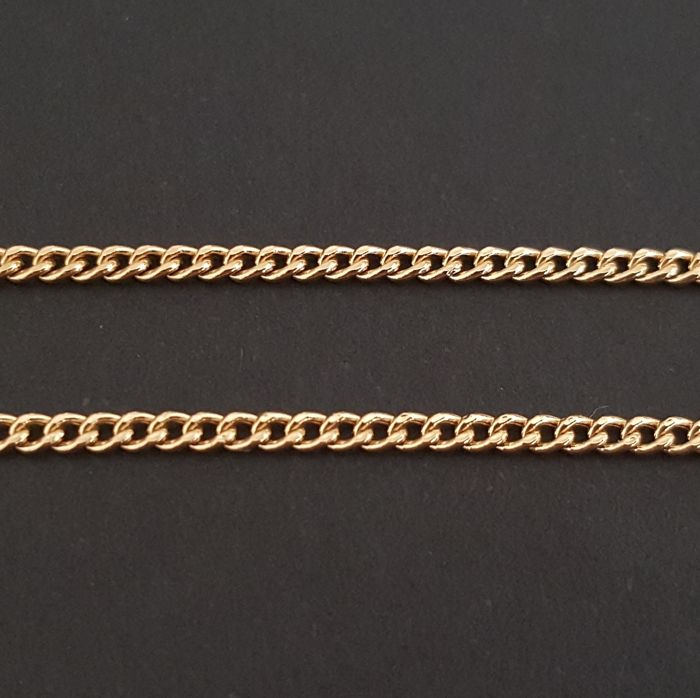"""18 kt yellow gold necklace - Chain """"Bearded"""" - Length: 45 ..."""