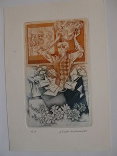 Lot with 21 engravings and exlibris by Belgian artists - 1982 / 2003