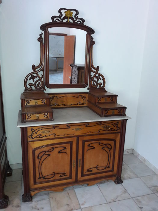 Complete Art Nouveau Solid Walnut Wood Furniture Catawiki