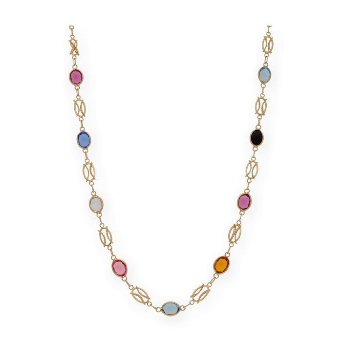 18 kt yellow gold - Choker - Various gemstones - Length: 51 cm