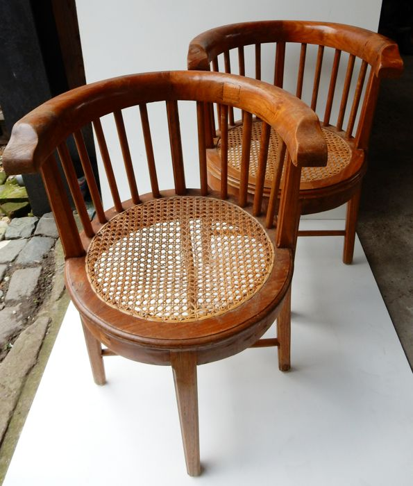 Two, Presumably Colonial, Teak Wood Dining Chairs   19th Century