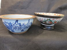2 Large nanking bowls - China - late 19th century