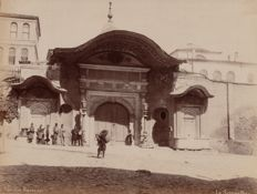 Abdullah Frères (active from 1858 to 1899) - View of the sublime door with passers-by, Constantinople.