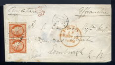 France 1852 - Rare letter from Bagnères de Luchon to Scotland with a pair of Yvert n° 5