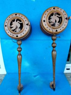 Pair of wall lamps made from two copper warmers - Italy, 1900s
