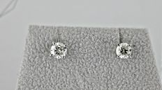 1.00 Ct  VS1  round diamond stud earrings 14 kt white gold