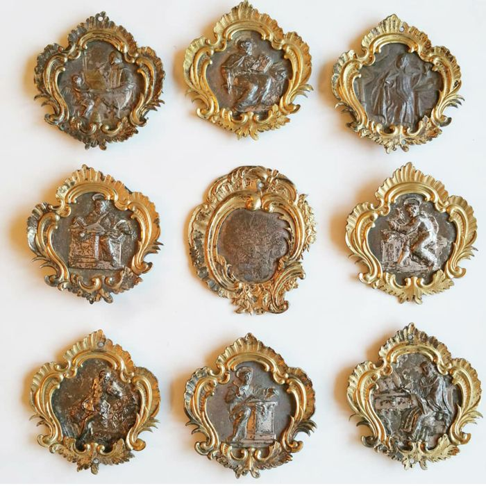 9 plaques with Saints - cast silver - probably from Rome, Papal States - Italy - 18th century