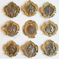 9 plaques with Saints - carved silver - probably from Rome, Papal States - Italy - 18th century