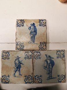 3 Tiles with persons decor