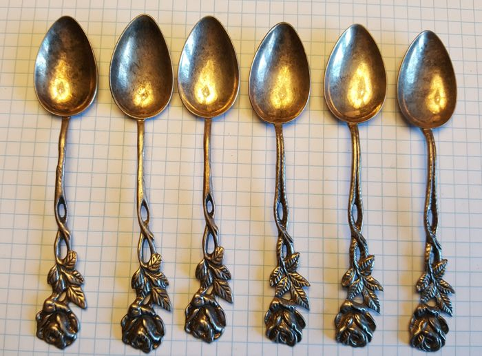 Six silver spoons with roses ,in a case, company WSW, Sweden, 1955