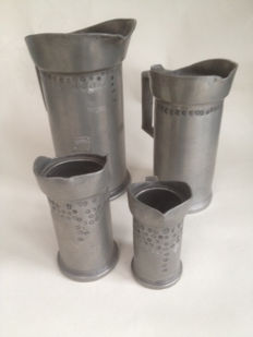Lot of 4 pewter measuring jugs with calibrations - 19th century
