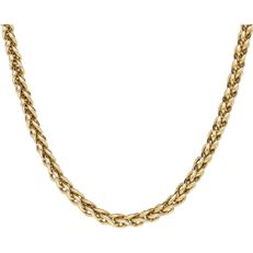 14 kt. - Yellow gold round foxtail link necklace of 5 mm wide - Length: 42.7 - 49.2 cm