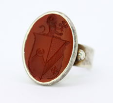 Antique Victorian solid silver glove ring with Carnelian seal, ca. 1850's