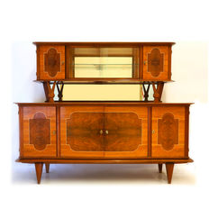 Manufacturer unknown - Mainly walnut sideboard with mirrored top part.