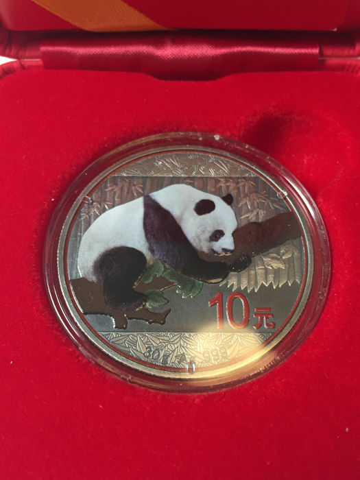 China - 10 yuan 2016 'Panda' with colour - silver
