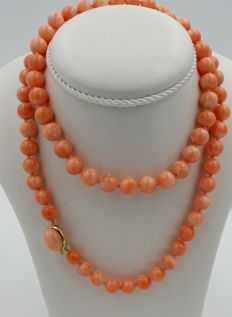 Red Mediterranean coral necklace Weight: 58.65 g - Length: 68 cm