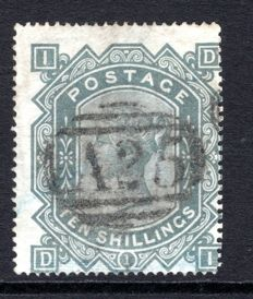 Great Britain Queen Victoria 1878 - 10/- greenish-grey Stanley Gibbons 128, Used in Malta