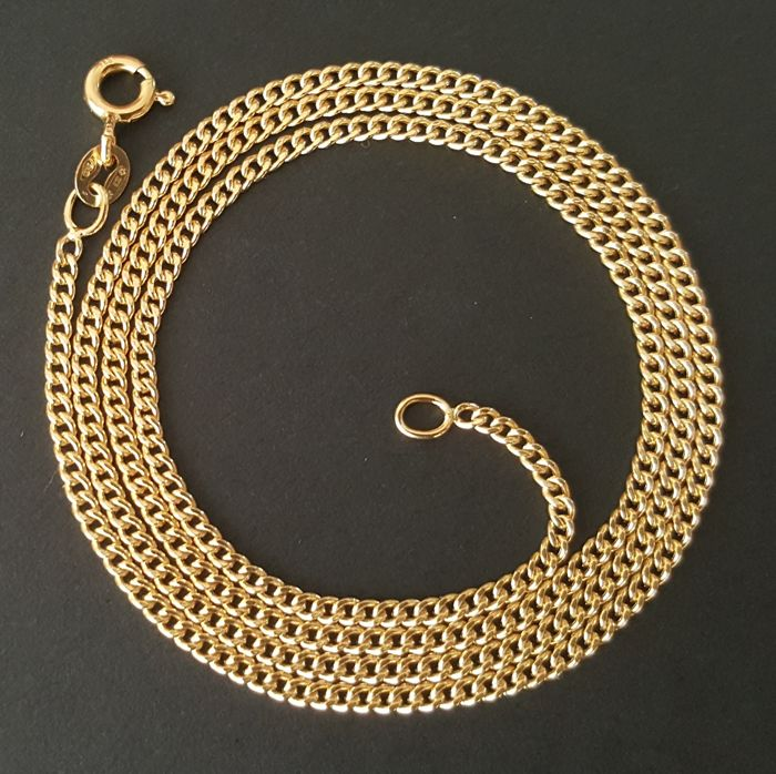 "18 kt yellow gold necklace - Chain ""Bearded"" - Length: 45 cm"