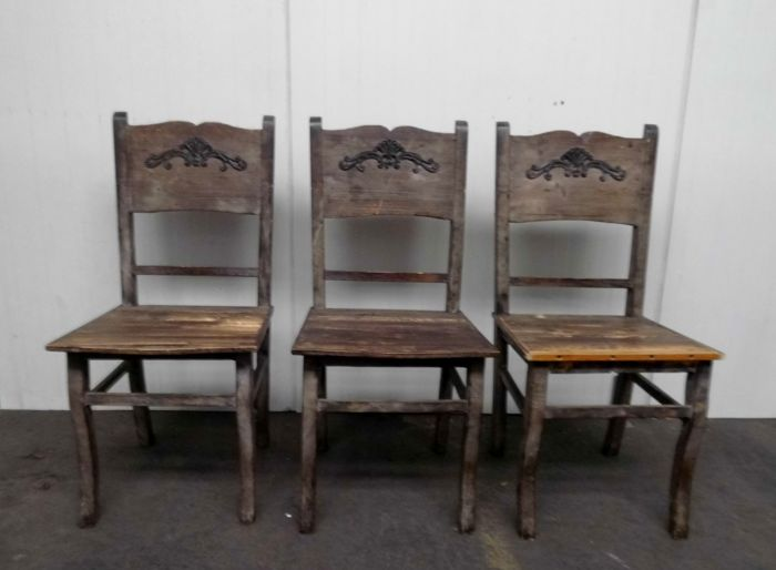 Three wooden vintage chairs with dovetail connection and wrought-iron decoration, France, 2nd half 20th century