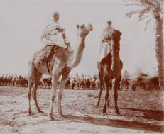 Unknown (20th century) - Two soldiers riding camels, Egypt