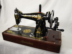 Beautiful Lewenstein sewing machine with nostalgic decoration, the Netherlands, 1960s