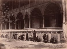 Abdullah Frères (active from 1858 to 1899) - The faithful at the ablutions in the courtyard of the mosque of Süleymaniye, Istanbul, Turkey.