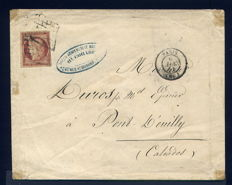 France 1851 - Letter from Paris for Pont l'Ouilly with one Yvert n° 6.