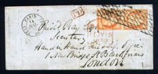 France 1852 - letter from Paris for London with a pair of Yvert n° 5 Grid stamp without end